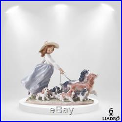 LLADRO 6784-BOXED Puppy Parade-Girl Walking Dogs and Puppies Porcelain Figurine
