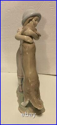 LLADRO 6903 A WARM WELCOME New In Box 10 Tall Girl With Dog Figurine