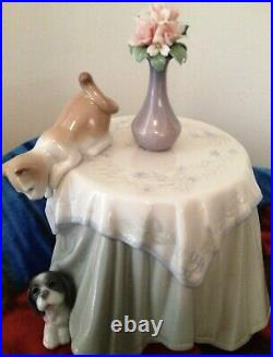 LLADRO 6980 Playful Mates Hand Made in Spain 2002 Dog Cat