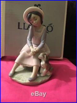 LLADRO #7645 BY MY SIDE BRAND NIB RARE GIRL DOG Never Displayed Out Of Box