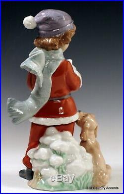 LLADRO A CHRISTMAS DUET #6714 LITTLE BOY SINGING CAROLS With HIS DOG MIB