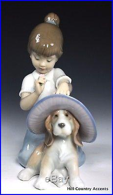 LLADRO AN ELEGANT TOUCH #6862 GIRL & PUPPY DOG WEARING HAT With FLOWERS MIB