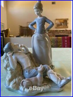 LLADRO Authentic Pre-Owned Mother checking on Boy Resting with Dog 10 tall
