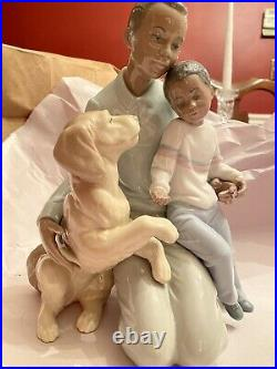 LLADRO Black Legacy - Father, Son, and Dog A MOMENT TO REMEMBER Excellent