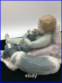 LLADRO Boy with Dog and Puppies Figurine #1535 Sweet Dreams