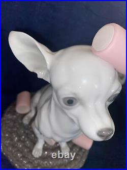 LLADRO CHIHUAHUA WithMARSHMALLOWS #9191 This Is A As Is Item! Broken Ear! See Pics