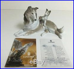 LLADRO COLLIE DOG WITH PUPPY # 6459 with BOX EXCELLENT CONDITION RETIRED
