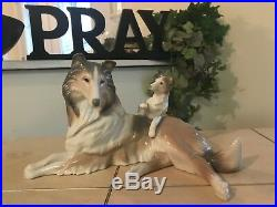 LLADRO COLLIE DOG with PUPPY # 6459 MINT CONDITION with BOX FAST SHIPPING