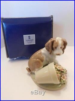 LLADRO Collectors Series7672 Travesura It Wasn't Me Dog Flowerpot with Box EUC