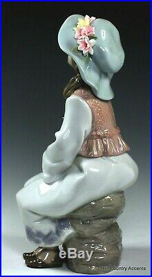 LLADRO DAYDREAMS #6400 GIRL, LARGE HAT With FLOWERS HOLDING SCHNAUZER DOG