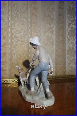 Lladro Figure Antique Young Boy With Hay Cart And Dog Glazed Ceramic