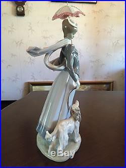 LLADRO FIGURINE 16 LADY WITH DOG AND UMBRELLA # 4914 with Original Box