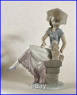 LLADRO FIGURINE #7612 PICTURE PERFECT Girl With Lace Parasol and Puppy Dog