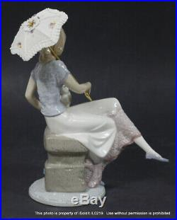 LLADRO FIGURINE #7612 PICTURE PERFECT Sitting Girl with Parasol & Puppy Dog + BOX