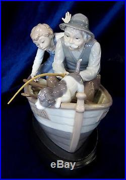 Lladro Fishing With Gramps Brand New In Box #5215 Boy Grandfather Dog Boat Save$