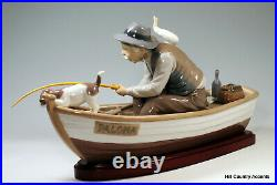 LLADRO FISHING WITH GRAMPS withBASE #5215 GRANDPA, BOY, DOG IN A BOAT $1,250