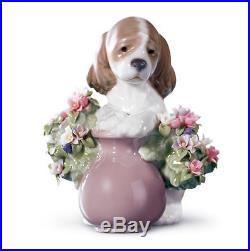 LLADRO FLOWER DOG 01006574 TAKE ME HOME! 6574 Brand NEW in Box