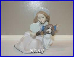 LLADRO Figurine #5468 WHO'S THE FAIREST Girl With Mirror And Dog Retired