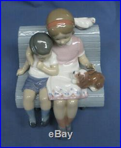 LLADRO Figurine Surrounded By Love #6446 MIB Boy/Girl on a Bench with Dog