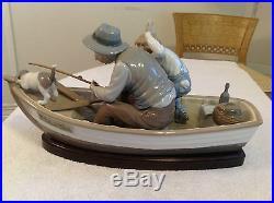 LLADRO Fishing with Gramps, Boy & Dog Figurine w Wood Base # 5215Free US Ship