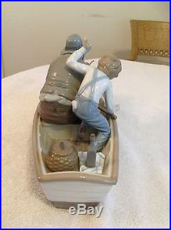 LLADRO Fishing with Gramps, Boy & Dog Figurine w Wood Base # 5215Free US Ship