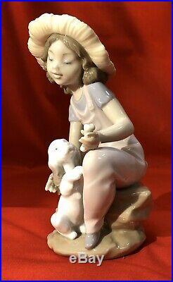 LLADRO Friends Forever NIB Girl with Puppy Dog & Bone B06680 1999 Event Figure