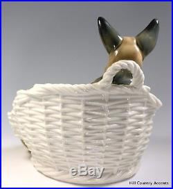 LLADRO GERMAN SHEPHERD with PUP #4731 MOM DOG With PUPPY IN BASKET $1,340 MINT