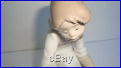 LLADRO JOY IN A BASKET FIGURINE #5595 MINT CUTE Puppies Dog Girl Blue White