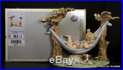 Lladro Little Napmates #6853 -dog Baby In Hammock Puppy $600 Value Mib