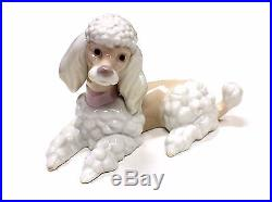 LLADRO Laying Poodle Dog 6337 Retired Fine Porcelain Figure Statue