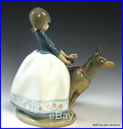 LLADRO NOT SO FAST #1533 YOUNG GIRL With GERMAN SHEPHERD DOG ON LEASH MIB