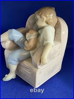 LLADRO Naptime Friends 6549 Adorable Boy With Dog Puppy XCLNT Condition