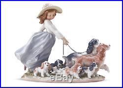 LLADRO PORCELAIN FIGURINE Puppy Parade GIRL WITH DOGS 01006784 WithBOX & CONTENTS