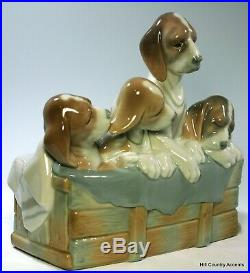 LLADRO PUPS IN THE BOX #1121 MOTHER DOG With THREE PUPPIES $895 RARE MINT