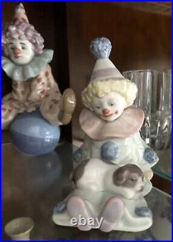 LLADRO Pierrot Set of Little Clowns Dog Concertina Balloons Reclining