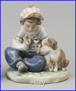LLADRO Porcelain Figurine 5450 I Hope She Does Boy With Flower And Dog Mint in Box