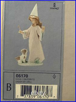 LLADRO Porcelain Figurine 6170 Under My Spell Girl With Wand And Dog