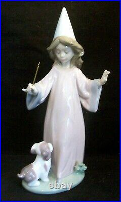 LLADRO Porcelain Figurine 6170 Under My Spell Girl With Wand and Puppy Dog Mint