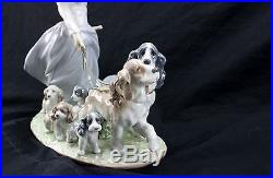LLADRO Privilege Porcelain Girl Walking Dogs And Puppies