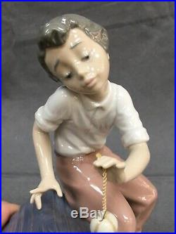 LLADRO RARE FIGURINE #5797 COME OUT & PLAY BOY With DOG NO BOX RETIRED