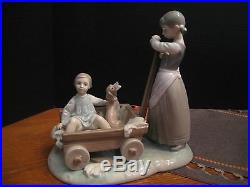 Lladro Rare Girl With Wagon With Doll & Dog Sitting Inside