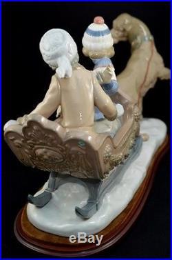 Lladro Retired Figurine # 5037 Sleigh Children Sled Dog Excellent