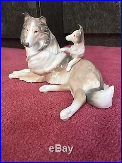 Lladro Retired Glazed Porcelain Rough Collie Dog With Puppy #6459 Mint Condition
