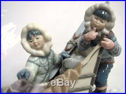 LLADRO Retired Artist Signed #1742 Onward Children Sleigh Dog Figurine & Base J