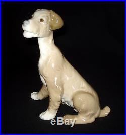 Lladro Seated Dog Large 7.5 Porcelain Figurine # 4583 Retired 1981 Glazed Mint