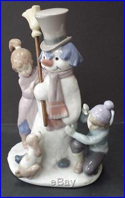 Lladro Snowman Girl Boy Dog1989nice