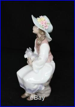 LLADRO SPAIN FIGURINE #6400 DAY DREAMS With BOX Girl with dog scottish and flowers