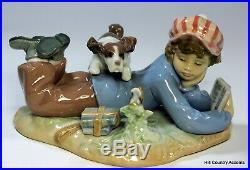LLADRO STUDY BUDDIES #5451 BOY READING BOOK with DOG, PUPPY, & BIRD MIB
