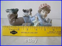 LLADRO STUDY BUDDIES Figurine 5451 Boy With Dog Bird & Books 1987 Retired Mint