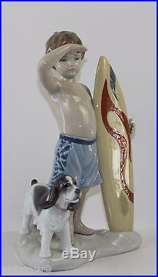 LLADRO SURF'S UP #8110 FIGURINE BOY WithSURFBOARD AND DOG MINT WITH BOX
